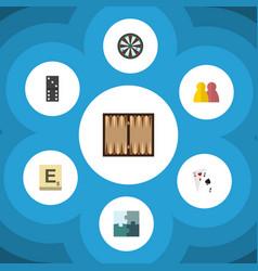 flat icon games set of arrow mahjong jigsaw and vector image