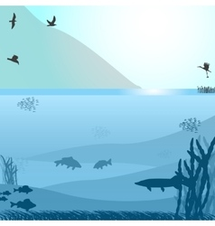 Lake with fish and birds near the mountain vector image