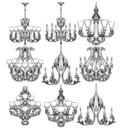 rich baroque classic chandelier set luxury decor vector image