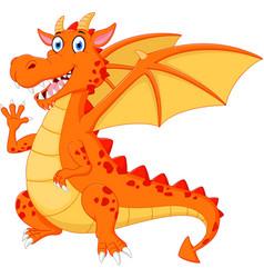 happy dragon cartoon waving hand vector image vector image