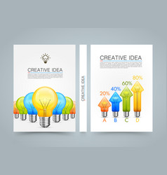 Creative idea banner lamp arrow up a4 size paper vector