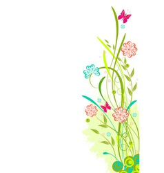 grunge floral background with red and blue flowers vector image vector image