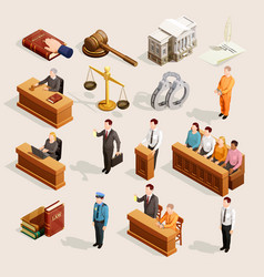 Jury court elements collection vector