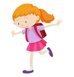 Little girl with backpack on her back vector