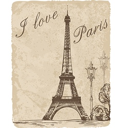 Vintage background with Eiffel Tower vector image vector image