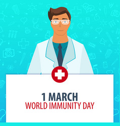 1 march world immunity day medical holiday vector