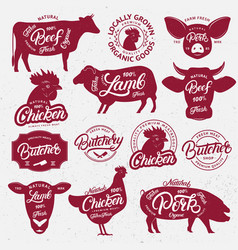 13 butchery logo label emblem poster vector