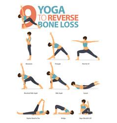 9 yoga poses to reverse bone loss concept vector