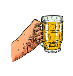 a hand with beer mug design element for poster vector image