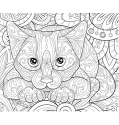 adult coloring bookpage a cute cat on the floral vector image