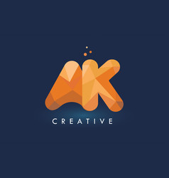 ak letter with origami triangles logo creative vector image