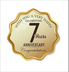 Anniversary retro label 7 years vector