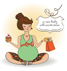 Baannouncement card with pregnant woman vector