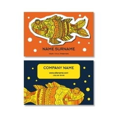 background fishes and business cards vector image