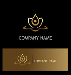 Beauty gold lotus flower spa logo vector