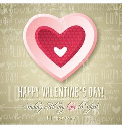 beige background with pink valentine heart vector image