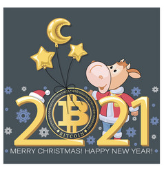 bitcoin bull calf bull chinese symbol vector image