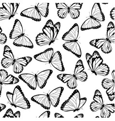 Black and white butterflies seamless pattern vector