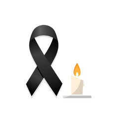 Black ribbon with candle vector