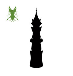 black silhouette elven tower vector image