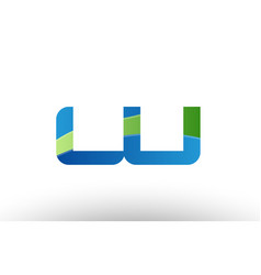 blue green lu l u alphabet letter logo vector image