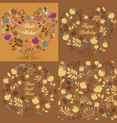 Brown floral patterns set vector