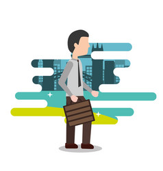 businessman holding briefcase business work vector image