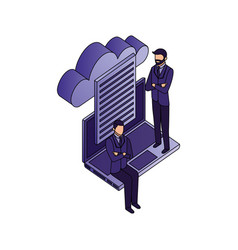 businessmen teamwork with laptop and cloud vector image
