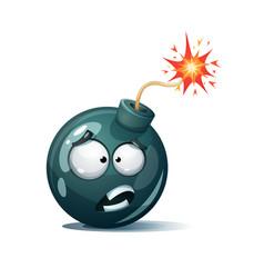 Cartoon bomb fuse wick spark icon confusion vector