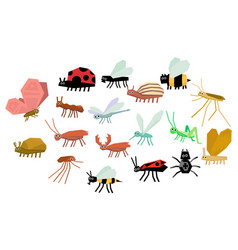 cartoon set various funny insects mite vector image