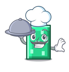 Chef with food rectangle mascot cartoon style vector