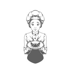 Chef woman giving food logo vector