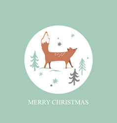 christmas card with winter forest background cute vector image