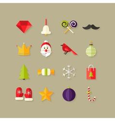 Christmas Flat Icons Set 1 vector image