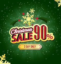 Christmas Sale 90 Percent typographic background vector