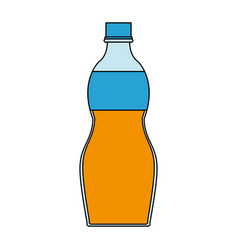 Color image cartoon plastic bottle with juice vector