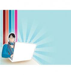 Computer girl vector