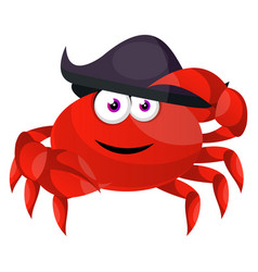 crab with pirate hat on white background vector image