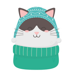 Cute cat celebration happy christmas vector