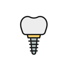Dental implant tooth crown flat color line vector