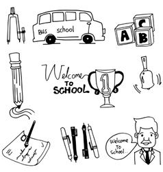 Doodle of school object bus pen teacher vector image vector image