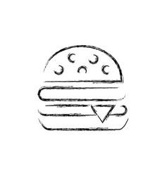 Figure hamburger fast food snack vector
