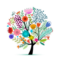 Floral tree sketch for your design vector