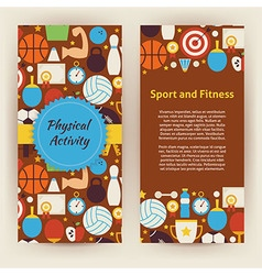 Flyer Template of Flat Sport and Fitness Objects vector image