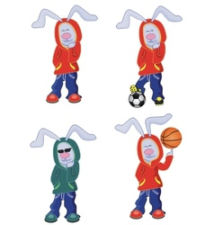 four cartoon rabbits vector image