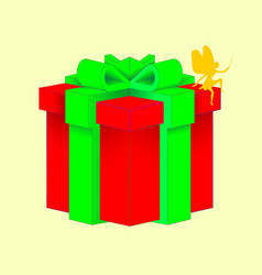 gift box with a green bowknot with wrapped paper vector image