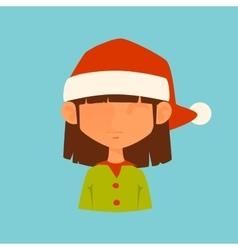 Girl Elf Christmas Santa red hat avatar face icon vector image