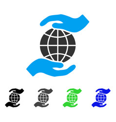 Global insurance flat icon vector