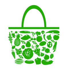 green bag with fruits and vegetables vector image
