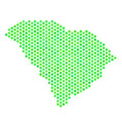 Green hexagonal south carolina state map vector